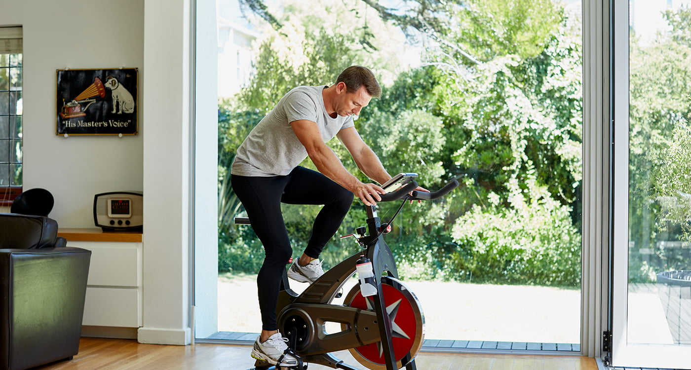 a man exercising on a machine
